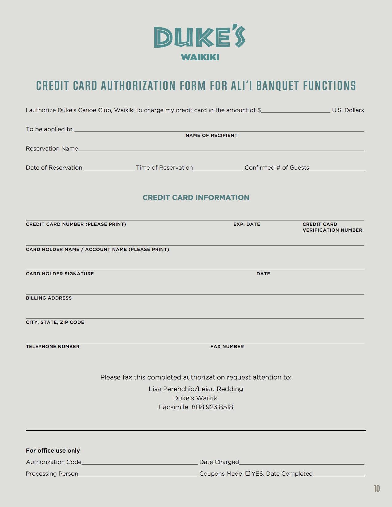 Credit Card Authorization for Banquets